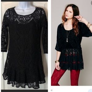 Free People Set Lace Scalloped Tunic Cami Top S